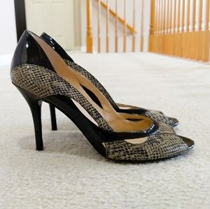 Guess snake print and black stiletto heels